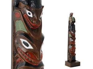 Hand painted Eagle-Bear-Beaver Totem Pole - 12""