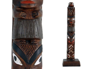 Handpainted Eagle-Woman-Whale Totem Pole - 10""