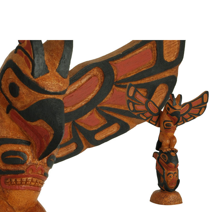 Handpainted Totem: Thunderbird and Killer whale 11""