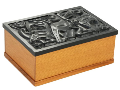 Desk Cedar Wood Box - Black Inlay