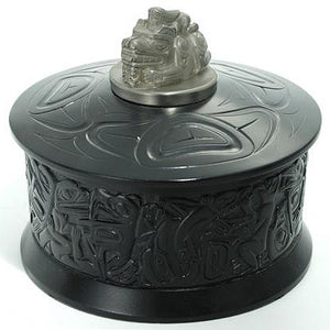 Native motif desk box with pewter sculptures