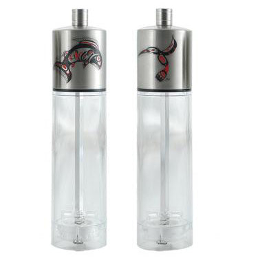Salt & Pepper Grinder Set: Salmon & Hummingbird