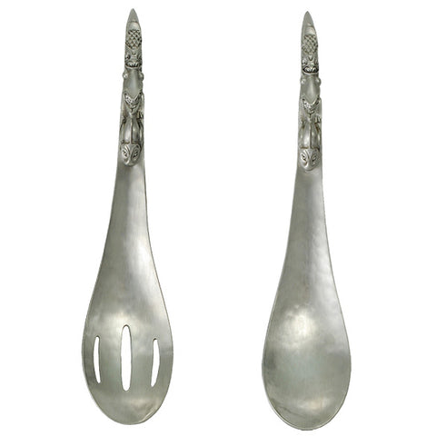 Native Pewter Serving Set/Spoon/Slotted Spoon