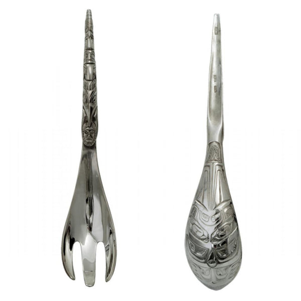Large Horn Pewter Server Set/Spoon/Fork/