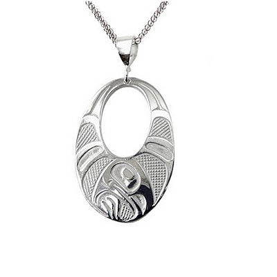 Native Art Silver Necklace - Raven Wings