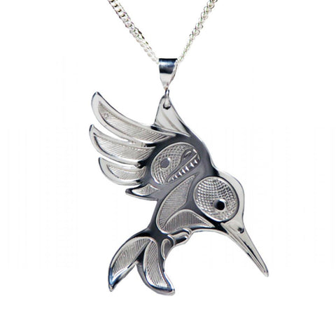 Silver Hummingbird in Flight Necklace