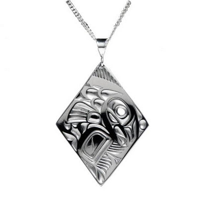 Native Art Silver Diamond Pendant -Salmon