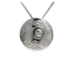 Native Art Silver Necklace - Eagle Sunlight