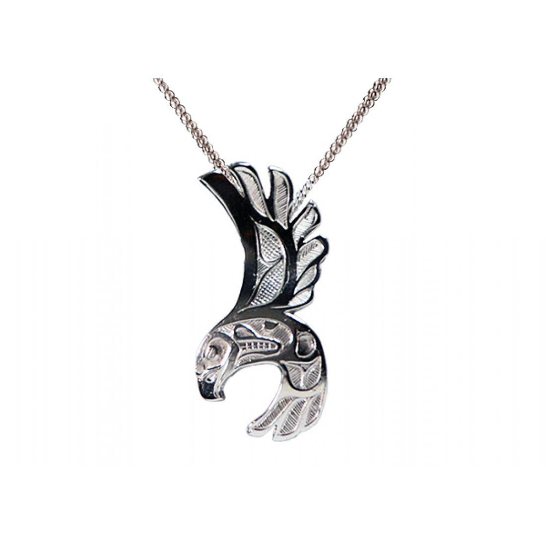 "Silver Pendant Neckalce - "" Eagle Free Flight"" by Bill Helin"