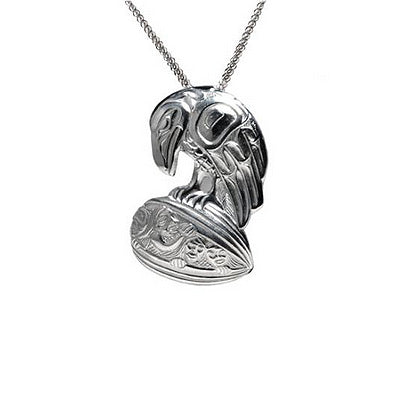 Native Art Silver Pendant Necklace - Raven Clamshell
