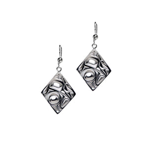 Silver Pewter Hummingbird Diamond Earrings