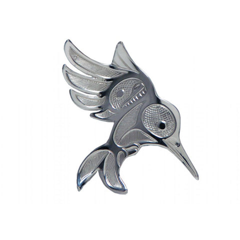 Silver Native Art Brooch - Hummingbird in Flight