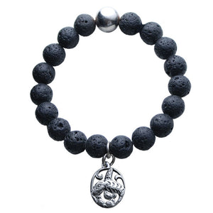 Lava Bead Bracelet with Silver Pewter Charm