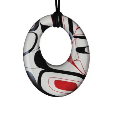 Silk Native Art Oval Pandent -  Red/Balck