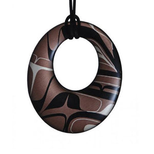 Silk & Native Art Oval Pendant - Onyx