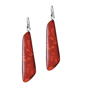 Silk Trapezoid Earrings - Red