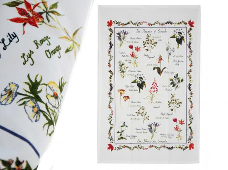 Bilingual Wildflowers Cotton Kitchen Towels