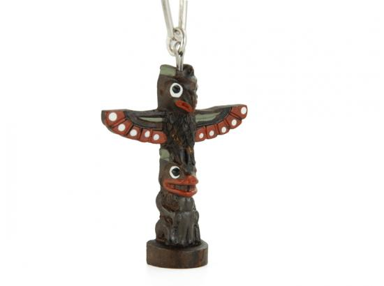 Handpainted Totem Pole Keychain: Thunderbird and Beaver
