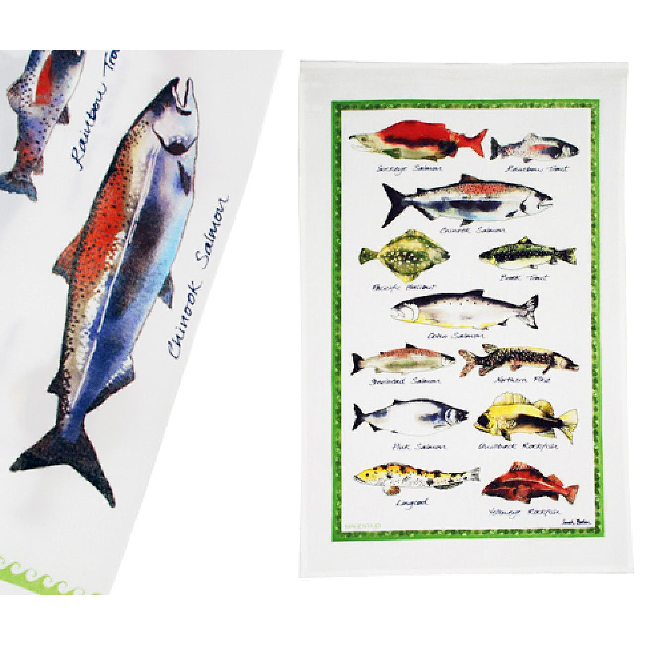 Cotton Tea Towel with Fish Design
