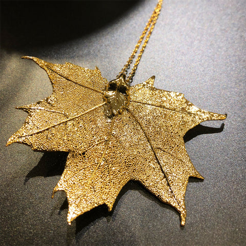 Golden Maple Leaf Necklace / Brooch