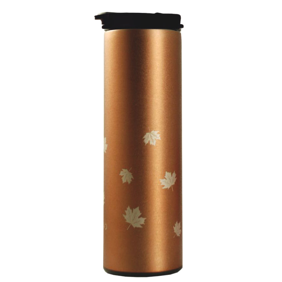 Insulated Stainless Steel Coffee Tumbler - Maple Leaf Gold Ice