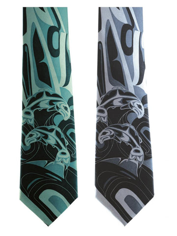 "Frist Nation Art ""Salmon"" 100% Silk Tie by Anthony Joseph"