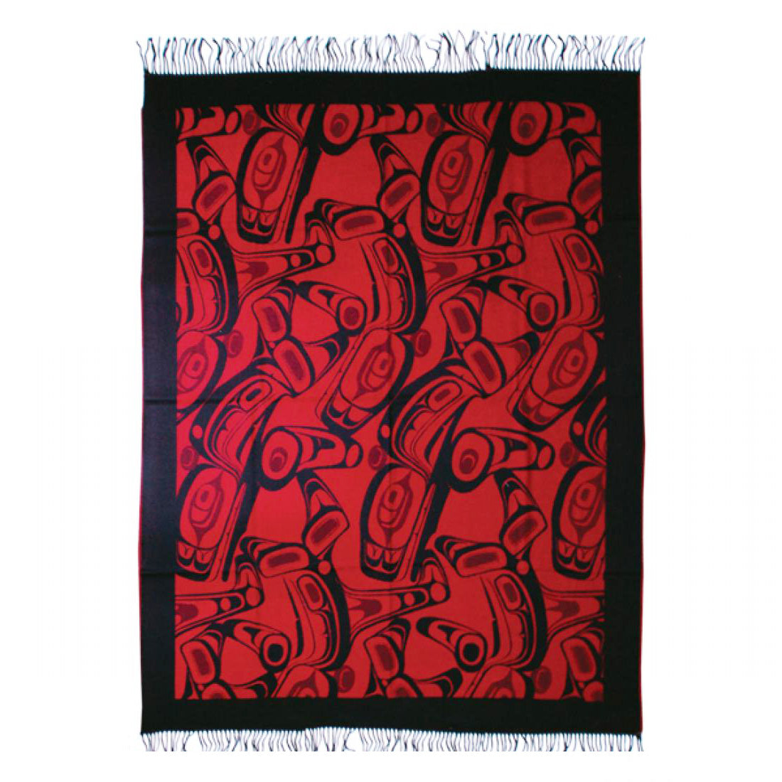 Native Art Blanket - Orca by Kelly Robinson (Red/Black)