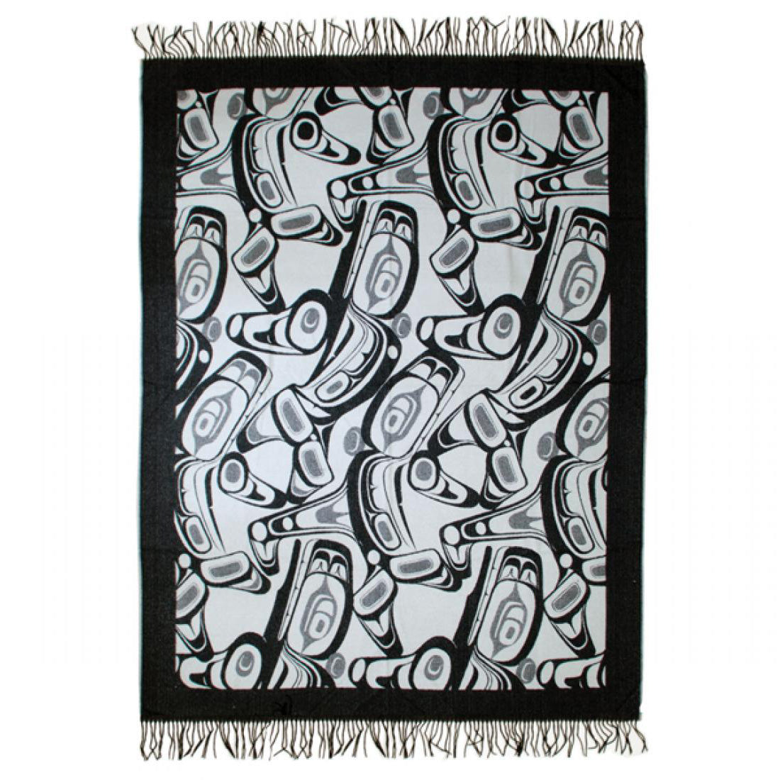 Native Art Blanket - Orca by Kelly Robinson (Grey/Black)