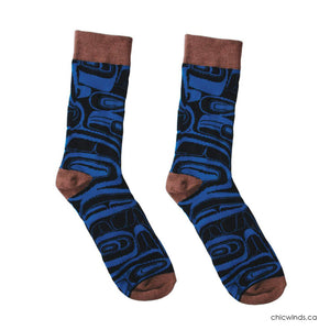 Cotton Socks - Raven by Kelly Robinson (Black/Blue/Brown)