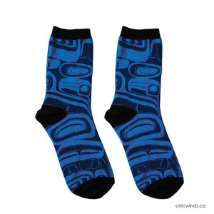 Cotton Socks - Raven by Kelly Robinson (Black/Blue)