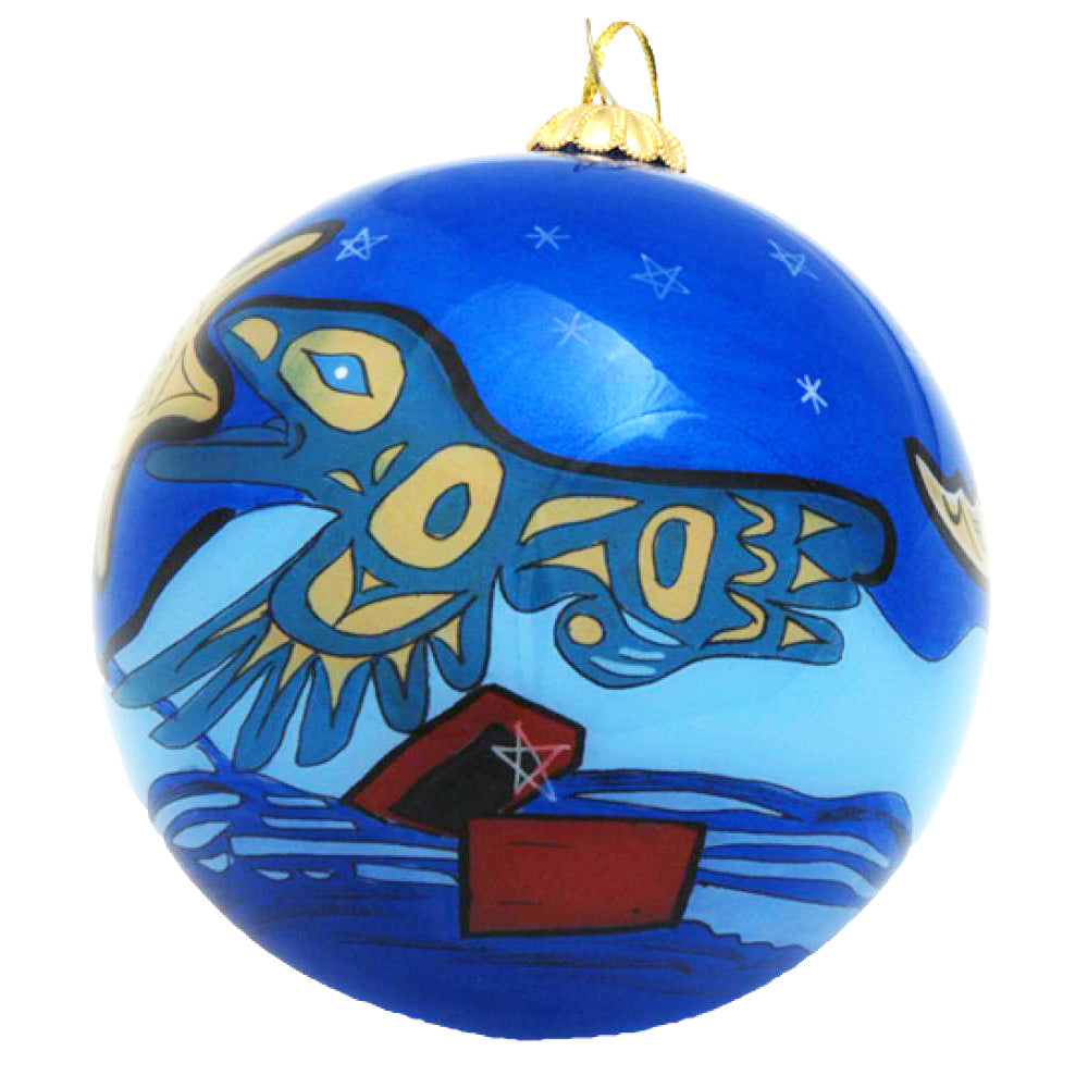 Boxed inside hand painted Christmas Ball Ornament - Raven