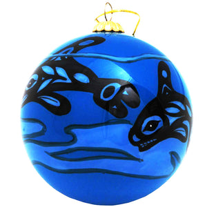 Boxed inside hand painted Christmas Ball Ornament - Whale
