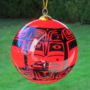 Boxed inside hand painted Christmas Ball Ornament - Chilkat
