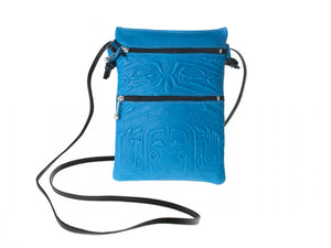 Embossed Leather Passport Pouch with Bear Box Design by Clifton Fred, Turquoise, Deer Skin
