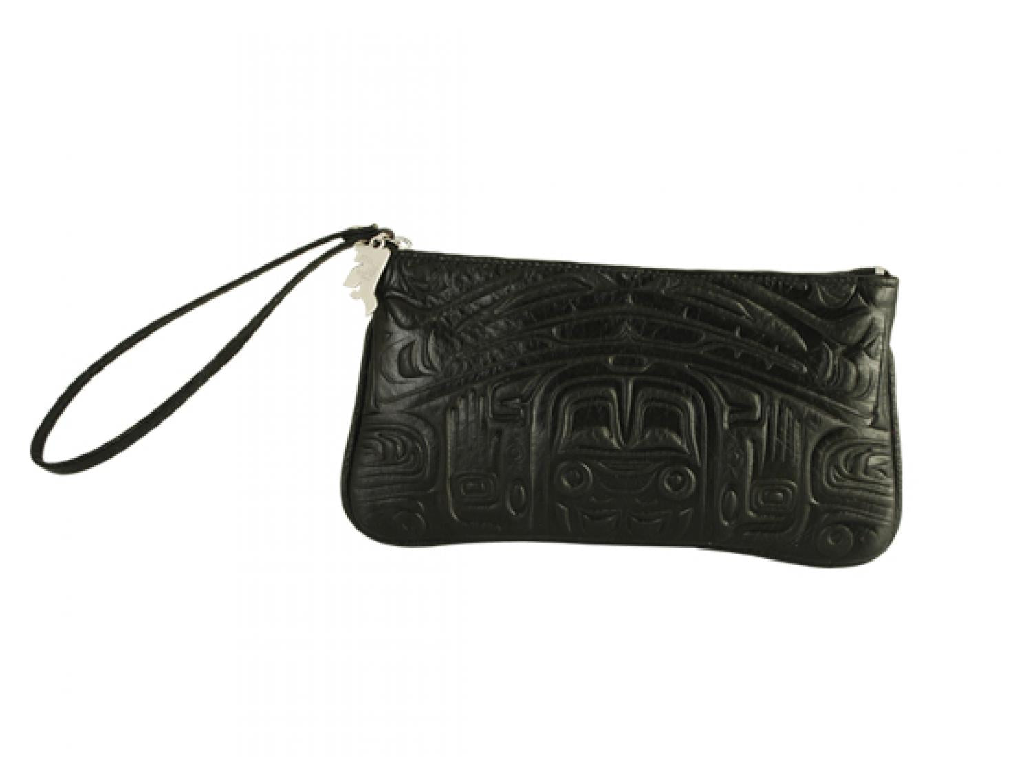 Embossed Leather Wristlet Pouch with Bear Box Design by Clifton Fred, Black