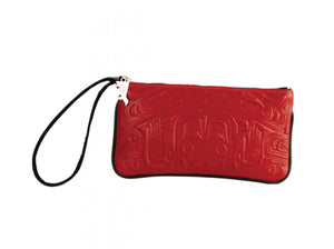 Red Deer Skin Embossed Wristlet Pouch with Bear Box Design by Clifton Fred