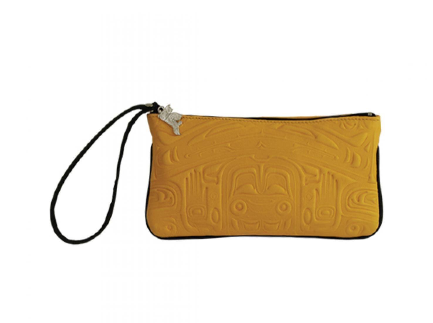 Deer Skin Embossed Wristlet Pouch with Bear Box Design by Clifton Fred, Yellow