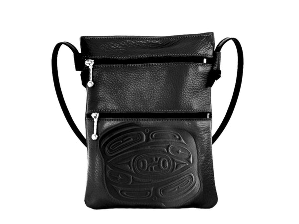 Embossed Leather Passport Pouch with Raven Design by Corrine Hunt, Black, Leather