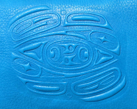 Embossed Leather Passport Pouch with Raven Design by Corrine Hunt, Turquoise, Deer Skin