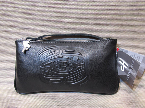 Embossed Leather Wristlet Pouch with Raven Design by Corrine Hunt, Black