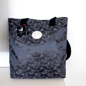 "Printed Fabric Shopper Bag with Pewter ""3 Eagle"" by Corrine Hunt"