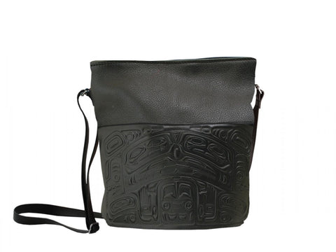 Embossed Leather Bag w/Pocket - Bear Box