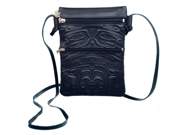 Embossed Leather Passport Pouch with Bear Box Design by Clifton Fred, Black Leather