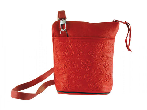 Deerskin Leather Compact Crossbody Bag - Maple Leaves