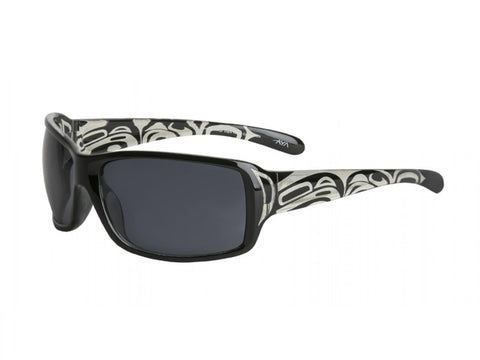 "Wrap Style Sunglasses ""Storm"" with Eagle, Raven Design"