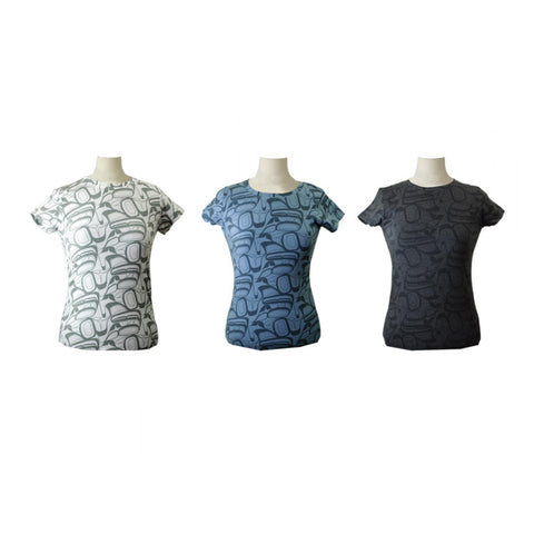 Ladies T-Shirt with All Over Eagle Abstract Design