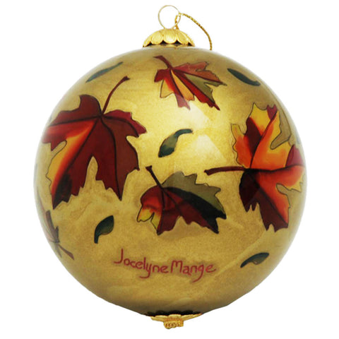 Boxed inside hand painted Christmas Ball Ornament - Maple Leaf