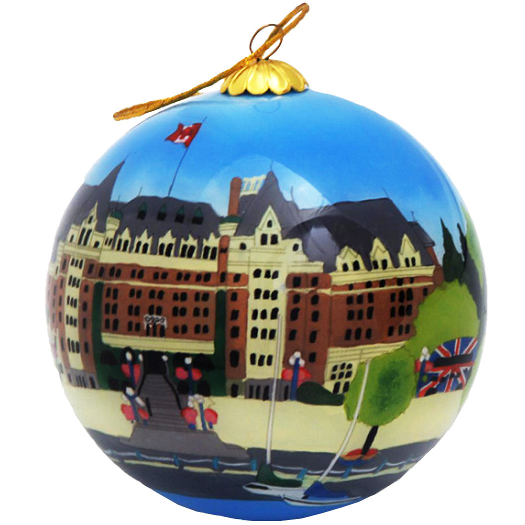 Boxed inside hand painted Christmas Ball Ornament - Victoria