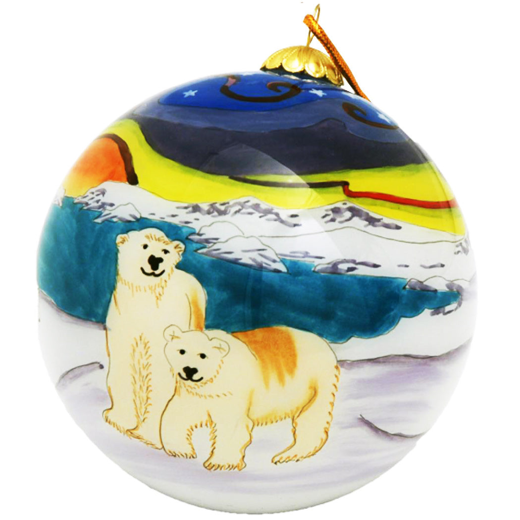 Boxed inside hand painted Christmas Ball Ornament - Polar Bear