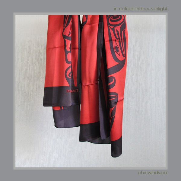 Dorothy Grant Native Art Silk Scarf - Eagle ( red )